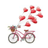 Watercolor bicycle and hearts for Valentine`s Day. Romantic picture. Greeting card with balloons.