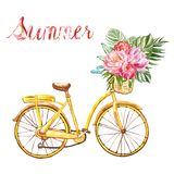 Watercolour yellow hand painted bicycle with basket and tropical floral bouquet, isolated on white background. Summer Watercolor bicycle illustration in vintage royalty free stock photos