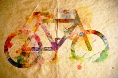 Watercolor bicycle, old paper background Royalty Free Stock Photo