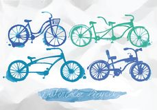 Watercolor bicycle set Royalty Free Stock Photos