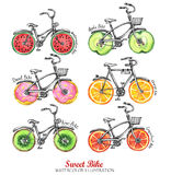 Watercolor bicycles with fresh fruits, donuts wheels. Colorful summer set. Royalty Free Stock Photos