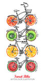 Watercolor bicycles with fresh fruits wheels. Colorful summer background. Stock Photo