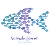 Watercolor big fish mosaic illustration. In high resolution Royalty Free Stock Photo