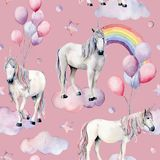 Watercolor big seamless pattern with unicorns and rainbow. Hand painted magic horses, clouds, stars and air ballon Stock Images