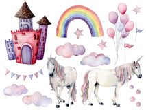 Watercolor big set with unicorns and fairy tale decor. Hand painted magic horses, castle, rainbow, clouds, stars and air stock illustration