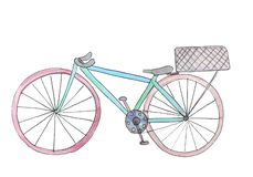 Watercolor bike with a basket. raster illustration for design royalty free illustration