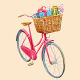 Watercolor bike with presents vector illustration