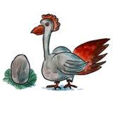 Watercolor bird egg gray cartoon illustration Stock Photos