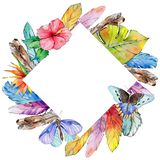 Watercolor bird feather frame from wing. Royalty Free Stock Image