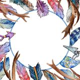 Watercolor bird feather frame from wing. Stock Photo