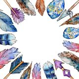 Watercolor bird feather frame from wing. Royalty Free Stock Photo