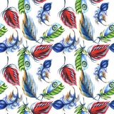 Watercolor bird feather pattern from wing. Stock Photos