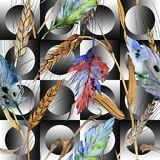 Watercolor bird feather pattern from wing. Watercolor bird feather pattern from wing isolated. Aquarelle feather for background, texture, wrapper pattern, frame Royalty Free Stock Images