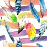 Watercolor bird feather from wing. Seamless background pattern. Fabric wallpaper print texture. Aquarelle feather for background, texture, wrapper pattern vector illustration