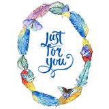 Watercolor bird feather wreath from wing. Stock Photography