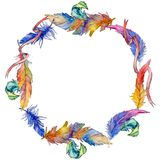 Watercolor bird feather wreath from wing. Royalty Free Stock Photos