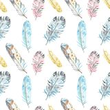 Watercolor bird feathers seamless pattern in pastel colors on white background. Hand drawn ethnic tribal illustration. In boho style. Best for spring cards royalty free illustration
