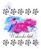 Watercolor bird  with flowers.  Royalty Free Stock Photo