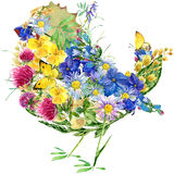 Watercolor bird, flowers and butterflies. Royalty Free Stock Images