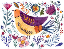 Watercolor bird and flowers Stock Images
