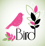 Watercolor Bird. Grunge  pink molted watercolor  bird with  foliage and text Stock Photo