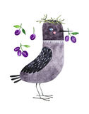 Watercolor bird. Hand drawn decorative jackdaw and plumps. Isolated on white background watercolor bird for textile, fabric and wallpaper Stock Images