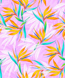 Watercolor bird of paradise tropical seamless pattern. Romantic floral pattern with pastel trendy colors. For fashion, swimwear, and other uses such as interior Royalty Free Stock Images