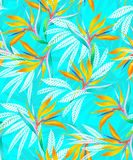 Watercolor bird of paradise tropical seamless pattern. Royalty Free Stock Photos