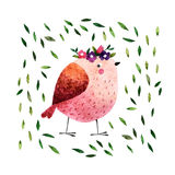 Watercolor bird. On white background hand drawn bird. Watercolor pink bird with green leaves and small wreath for your design, fabric, textile, wallpaper Stock Photos
