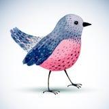 Watercolor bird  on white background. Stock Photos