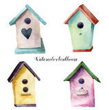 Watercolor birdhouse set. Hand painted nesting box isolated on white background. For design, print, fabric Royalty Free Stock Photo