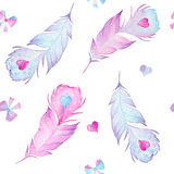 Watercolor birds feathers, hearts and bows seamless pattern texture Stock Images