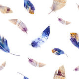 Watercolor birds feathers pattern. Seamless Royalty Free Stock Images