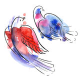 Watercolor birds. Stylized birds of red and blue spots watercolors Royalty Free Stock Photo