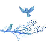 Watercolor birds at tree silhouettes Stock Photos