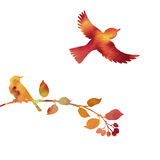 Watercolor birds at tree silhouettes Royalty Free Stock Images