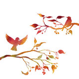 Watercolor birds at tree silhouettes Stock Images