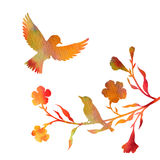Watercolor birds at tree silhouettes Stock Image