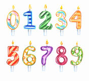 Watercolor birthday candles set. Royalty Free Stock Photos