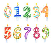 Watercolor birthday candles set. Stock Images