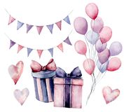 Watercolor birthday decor set. Hand painted gift boxes with ribbons, flag garlands, air balloons isolated on white. Background. Pastel decor collection. Holiday stock illustration