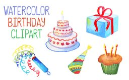Watercolor birthday decor on white background. Birthday cake with candles. Wrapped gift box with red ribbon. Colorful party hat. Multicolored confetti icon Stock Photo