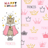 Watercolor birthday greeting card design for little girl Stock Photo