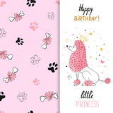 Watercolor birthday greeting card design with princess poodle dog. Vector illustration for kids Stock Image