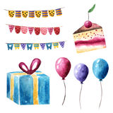 Watercolor birthday, holiday, party objects collection. Including flags, cake, present and balloons Stock Images