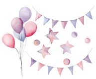Watercolor birthday set with pastel elements. Hand painted air balloons, flag garlands, stars and confetti isolated on. White background. Festive decor for stock illustration