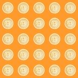 Watercolor bitcoin sign pattern. Virtual money concept. Illustration for design, print or background.  Stock Photo