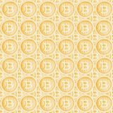 Watercolor bitcoin sign pattern. Virtual money concept. Illustration for design, print or background.  Royalty Free Stock Photos
