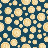 Watercolor bitcoin sign pattern. Virtual money concept. Illustration for design, print or background.  Royalty Free Stock Images