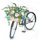 Watercolor black bicycle with flower basket Stock Images